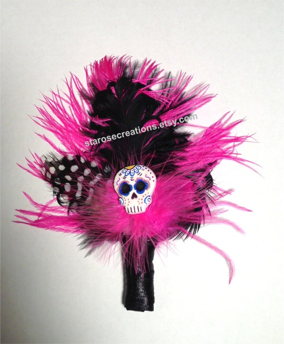 Sugar Skull Day of the Dead Boutonniere Ostrich Dia De Los Muertos Zombie Hot Pink Black Wedding Prom Quinceanera - Gregorio