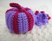Custom Crochet Striped Pumpkin, Purple and Magenta, Dark and Light Green, Burnt Orange and Bright Orange