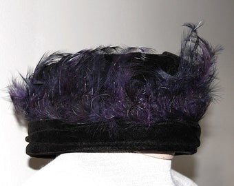 Vintage Edwardian Black Velvet Hat with Purple Feathers Mode de Paris