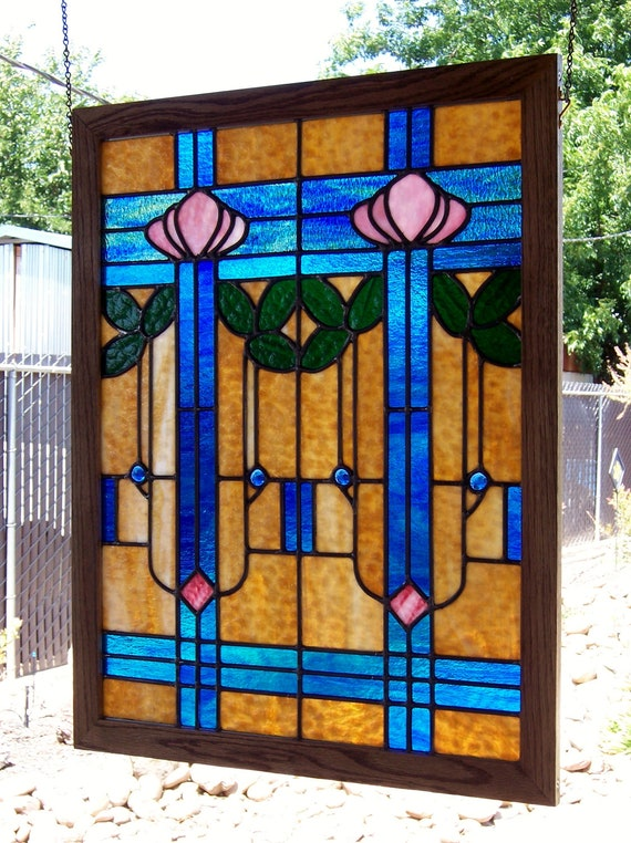 Arts and Crafts Style Double Flower Stained Glass Window Framed in Oak
