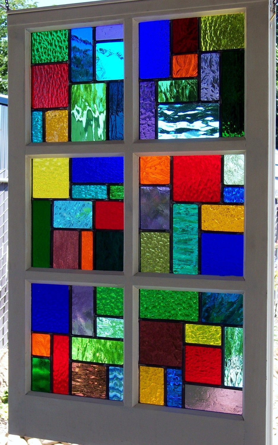 Large multi color stained glass reclaimed wood window for Window design colour