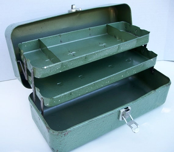 Green Vintage My Buddy Tool Box, Jewelry Display or Storage, Supply Box
