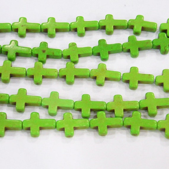 Magnesite Beads 12x16mm Green Cross Semiprecious Gemstone Bead 15''L 4973 -
