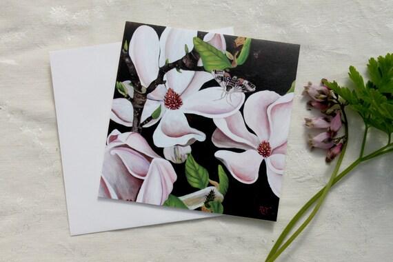Magnolia & Sphinx Moth GREETING CARD - magnolia art, magnolia painting, black pink green, sphinx moth, moth art