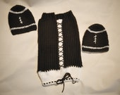 Ready to ship FOOTBALL cocoon with drawstring bottom & 2 matching Hats