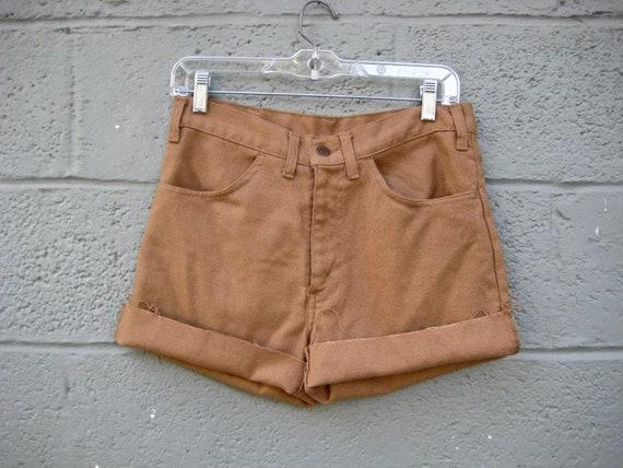 "high waist denim shorts / camel brown 1970s Levis cutoff shorts 30"""