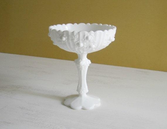Vintage Milk Glass Pedestal Compote - Fenton Rose