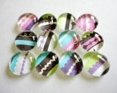 CLEARANCE - Glass Marble Magnets or Push Pins - Whimsical Stripes