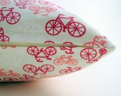 bicycle pillow cover -red pillow cover - bike pillow - push bike pillow cover - pink pillow cover