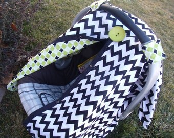 Carseat Canopy Chevron with Lime Argyle Boy carseat cover infant carseat nursing cover