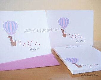 Dachshund Note Cards and Personalized Notepad Set - Hot Air Balloon. Red/Brown Dachshund (10 cards, 1 notepad)