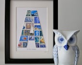 NEW Framed Postage Stamp Letter in Shades of Blue. Add Your Own Text.