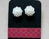 White Resin Dahlia Earrings