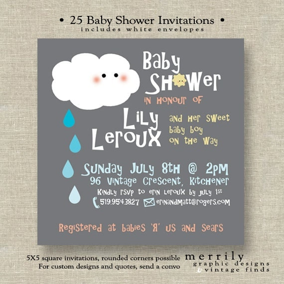 "Baby Shower ""Shower"" Theme Invitations"