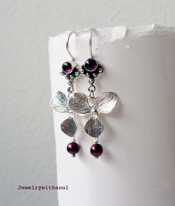 Garnet cabochon, freshwater pearl and sterling silver floral dangle earrings with jeweled earwires in garnet cherry red - Ruby flowers