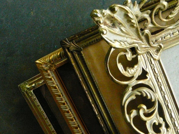 Vintage Metal Frames / Set of 4 / Metal Frames / Lovely Detailed Frames / Hollywood Chic / Mid Century
