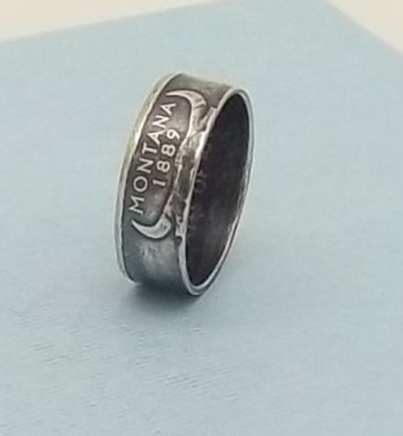 Silver coin ring Montana State quarter year 2007 size 8,  90% fine silver jewelry unique statehood gift FREE SHIPPING