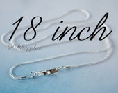 Quantity 2 - 18 inch 1.2mm Silver Plated Snake Chain Necklace - Ships from USA - no78230