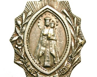 """Our Lady of Good Assistance Vintage Medal on 18"""" sterling silver rolo chain"""