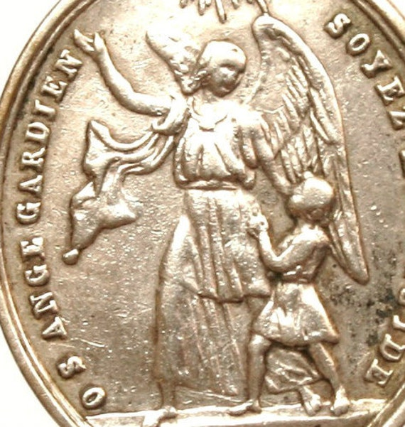 Holy Guardian Angel and Saint ALOYSIUS of GONZAGUE  Antique Silver Religious Medal on 18 inch sterling silver rolo chain