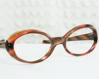 60s Cat Eye Glasses 1960s Tortoise Eyeglasses Brown Olive Green Translucent Oval Horn Rim NOS 50/21 Lili Sheraton Optical Frame