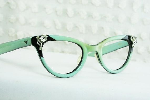 Cat Eye Rhinestone Eyeglass Frames : 50s Cat Eye Glasses 1960s Rhinestone Eyeglasses by DIAeyewear