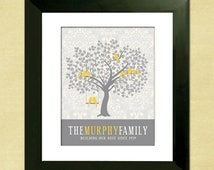 Printable Gift for Mom, Personalized Family Tree, Gift for Wife, Custom PDF, Last Minute Gift for Grandma, Gray and Yellow Decor