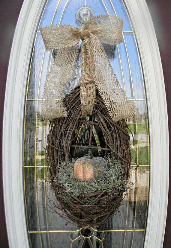 "Fall Thanksgiving Grapevine Door Wreath Basket Decor ...""Crystal Pumpkin"""