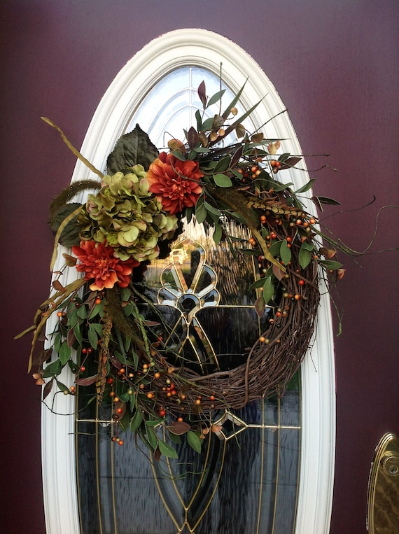 "Fall Grapevine Door Wreath Decor..""Fall Essence"" One of a Kind"