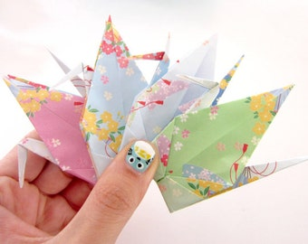 CHOOSE 8 Large Aitoh Chiyogami Origami Cranes