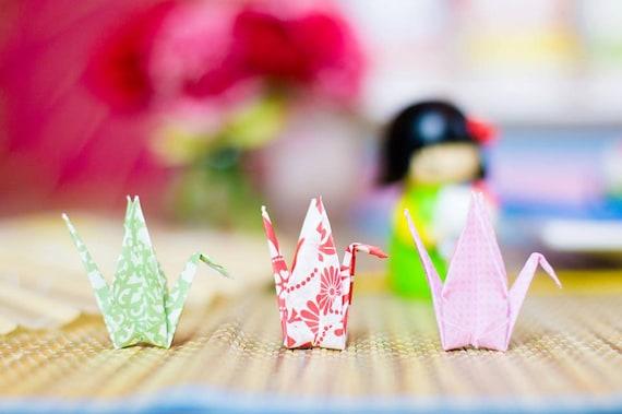 45 Floral Kokeshi Origami Cranes