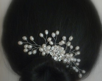 Lisa - Freshwater Pearl and Rhinestone Bridal Comb