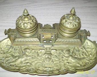Brass Ink Well Art Nouvea Cherubs Designs 3343