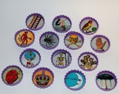 Set of 14 Vintage Mexican Lotería Cards Bottlecap Magnets