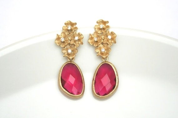 Gold Flower and Ruby Earrings. Gold Post Earrings. Bridesmaid Earrings. Bridesmaid Gift. Bridal Jewelry. Wedding Jewelry