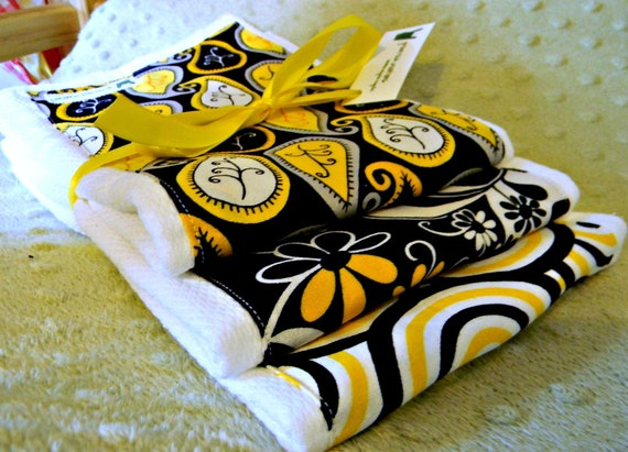 Yellow and black baby burp cloths - paisley trio - gender neutral, girl or boy