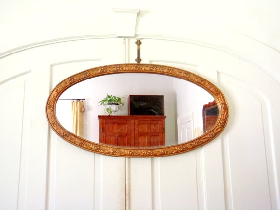 Wall mirror vintage mirror long oval by columbiaartsbuilding for Long framed mirror