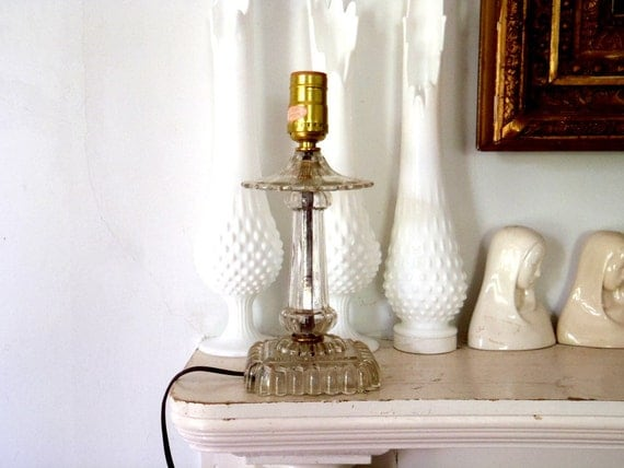 Antique Glass Parlor Lamp Midcentury Lamp
