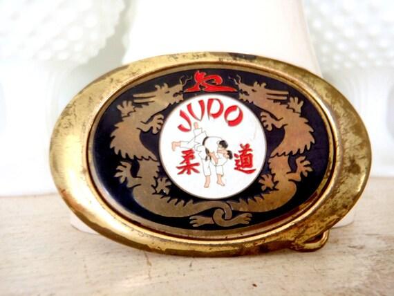 Belt Buckle JUDO Vintage Enamel 1970s Brass Belt Buckle