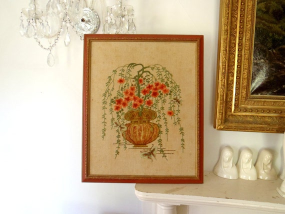 Vintage Wall Hanging Picture Crewel Work Large Handmade PIcture Bohemian Vintage 1970s