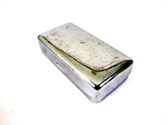 1940s Travel Soap Dish Antique Metal Storage Box
