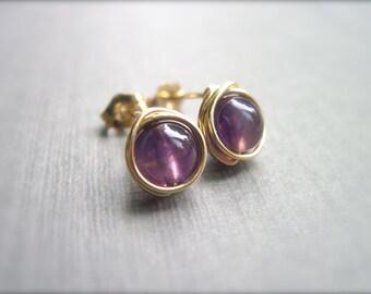 Amethyst Post Earrings in 14K Gold Fill, Wire Wrapped Amethyst Earrings, Purple Gemstone Earrings