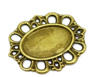 Filigree : 10 Antique Bronze Filigree Cabochon Settings | Metal Jewelry Stampings - Holds 18x13 Cabochon Lead, Nickel & Cadmium Free 18551.M