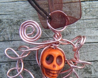 Day of the Dead Wire Wrapped Caged Carved Skull Magnesite Necklace. Orange Carved Skull Magnesite Pendant. ON SALE WAS 12.00