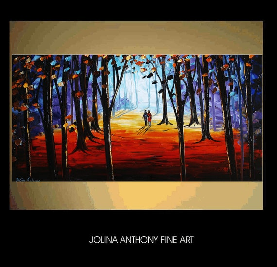 A WUNDERFUL DAY original textured painting from listed artist Jolina Anthony free and fast shipping