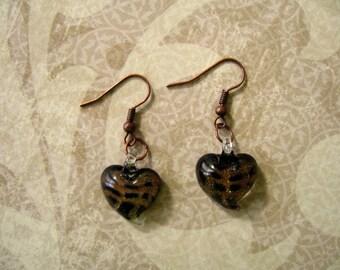 Brown Black Lampglass Earrings, Brown Glass Earrings, Brown Lampglass Jewlery