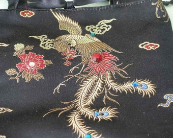 Satin DRAGON Print  PURSE -  Vintage Asian Print with Crystals and Beading - Small FESTIVAL Bag