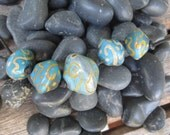 Turquoise and Gold Handmade Glass Bead Set