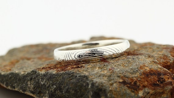 Your Custom Fingerprint Ring - Sterling Silver Engraving Wedding Band - 4mm, finger print