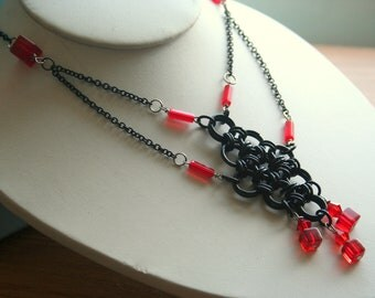 Japanese Diamond Necklace in Black and Red